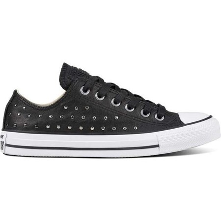 Women's Shoes Sneakers Converse CHUCK TAYLOR ALL STAR LEATHER BLACK BLACK SILVER