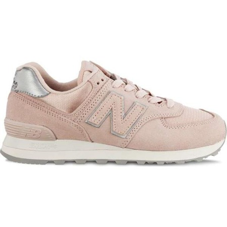 New Balance WL574OPS SATEEN TAB OYSTER PINK WITH METALLIC SILVER