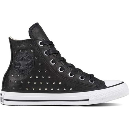 Converse CHUCK TAYLOR ALL STAR LEATHER BLACK BLACK SILVER - Buty Damskie Trampki