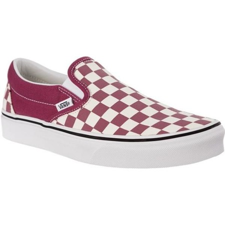 Vans CLASSIC SLIP ON U7A CHECKERBOARD DRY ROSE WHITE - Buty Sneakersy